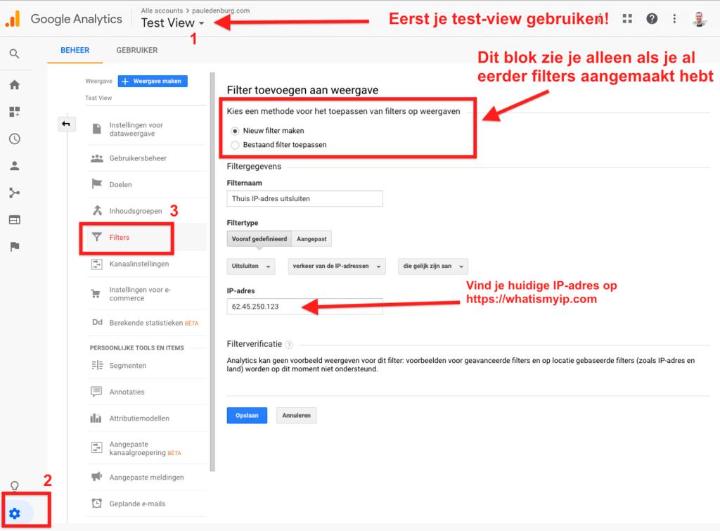 Filter aanmaken om je bezoekersaantallen uit te sluiten